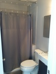 walk in shower with gray curtain, toilet and corner of modern sink